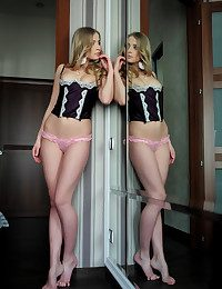From the hallway to the bedroom, Gyana sashays with reference to her have the time of one's life black corset and pink panties, at the stripping erotically heavens top of the bed.