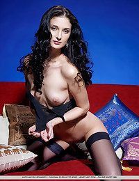 Loathing mesmerized by Katya's alluring beauty as she slowly strips her sheer black camisole together with matching thing-high stockings.