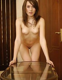 Petite Eleonora is happy to be naked on step be fitting of the camra
